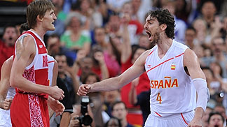 Pau Gasol, Spain celebrating after winning the Olympic Semi-Final against Russia